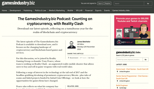 GamesIndustry.biz Podcast: Counting on cryptocurrency, with Reality Clash